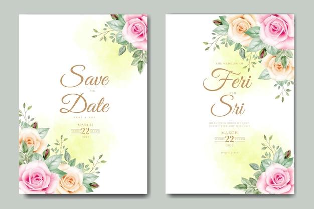 Bruiloft uitnodigingskaart met bloemen bladeren aquarel