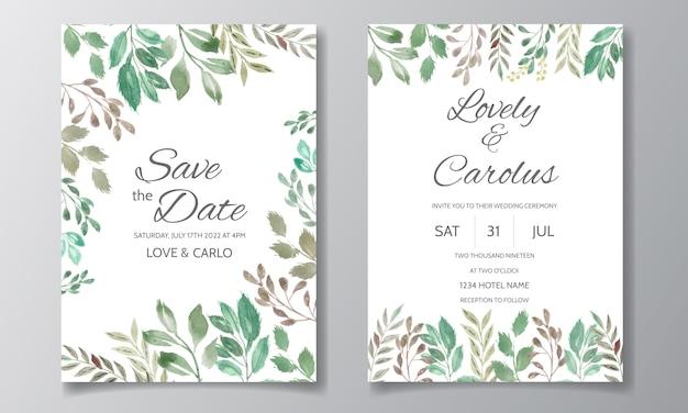 Bruiloft uitnodigingskaart met bloemen en bladeren aquarel