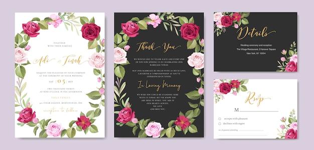Bruiloft uitnodigingskaart met bloemen en bladeren frame sjabloon