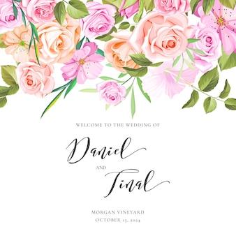 Bruiloft uitnodigingskaart met bloemen en bladeren krans