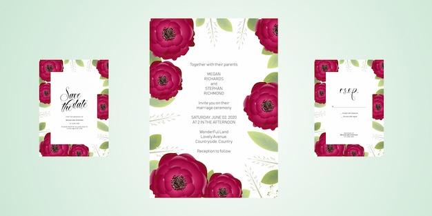 Bruiloft uitnodigingskaart met bloemen en bladeren