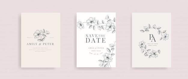 Bruiloft uitnodigingskaart met bloemen hand getrokken vector.
