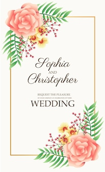 Bruiloft uitnodigingskaart met bloemen roze en gouden vierkante frame illustratie