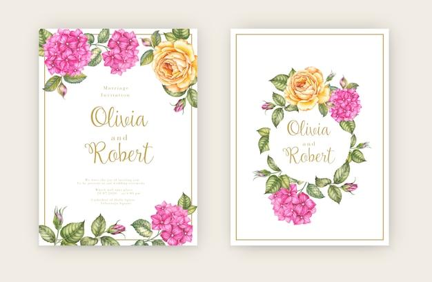 Bruiloft uitnodigingskaart met bloemen