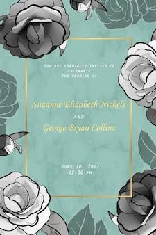 Bruiloft uitnodigingskaart met bloemen.