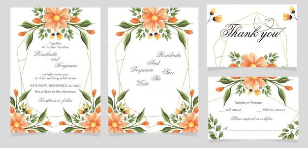 Bruiloft uitnodigingskaart met dank u en rsvp kaart