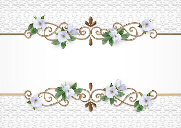 Bruiloft uitnodigingskaart met decoratief gouden frame en witte bloemen