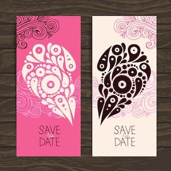 Bruiloft uitnodigingskaart met decoratief stijlvol hart