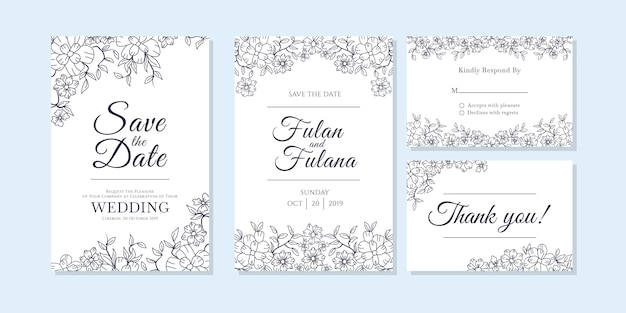 Bruiloft uitnodigingskaart met doodle schets overzicht bloemen en bloem sierontwerp stijlsjabloon