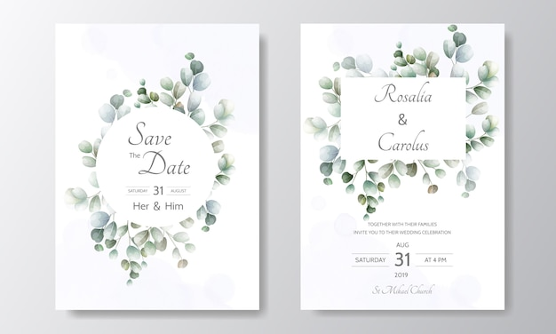 Bruiloft uitnodigingskaart met eucalyptus bladeren sjabloon