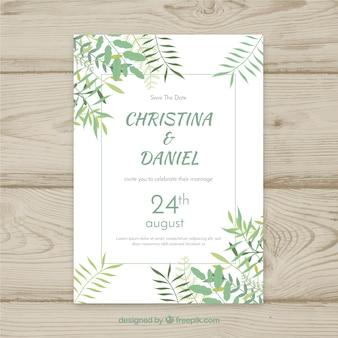 Bruiloft uitnodigingskaart met florale ornamenten