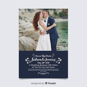 Bruiloft uitnodigingskaart met foto