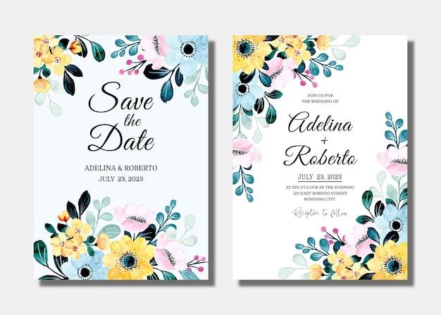 Bruiloft uitnodigingskaart met gele blauwe bloemen aquarel instellen