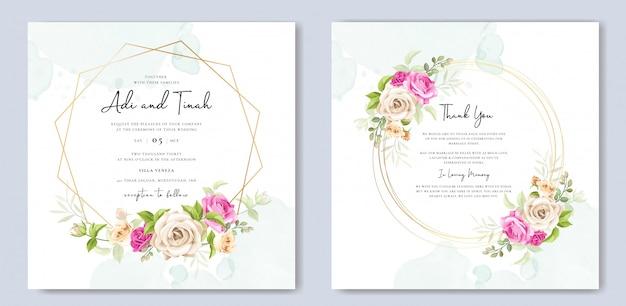 Bruiloft uitnodigingskaart met gele en roze rozen sjabloon