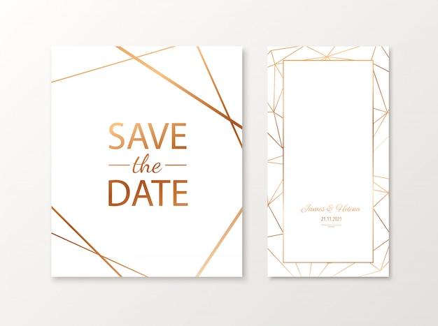 Bruiloft uitnodigingskaart met gouden geometrische veelhoekige ontwerpelementen. luxe uitnodigen