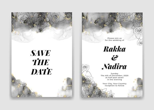 Bruiloft uitnodigingskaart met gouden zwarte golven vormen en roos