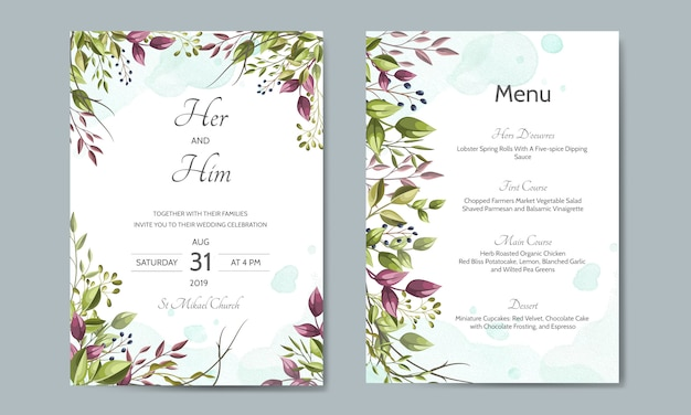 Bruiloft uitnodigingskaart met groene bladeren sjabloon