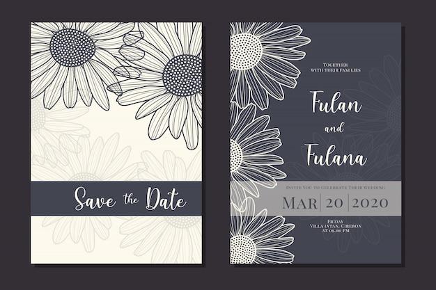 Bruiloft uitnodigingskaart met hand getrokken doodle daisy flower overzicht zwart-wit sjabloon instellen