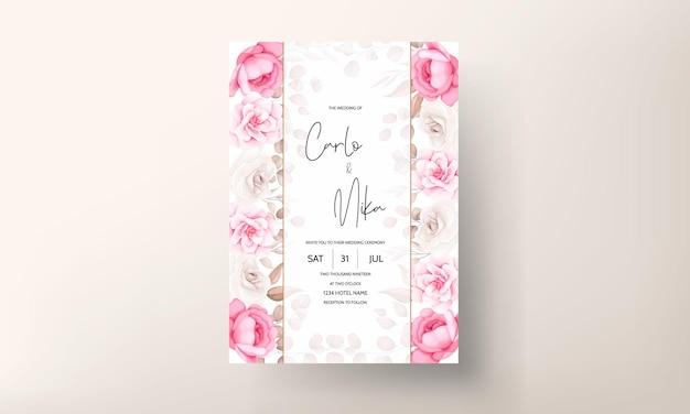 Bruiloft uitnodigingskaart met hand loting perzik en bruin bloemen