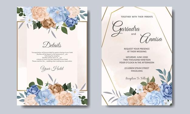 Bruiloft uitnodigingskaart met kleurrijke blauwe en bruine bloemen en bladeren premium vector