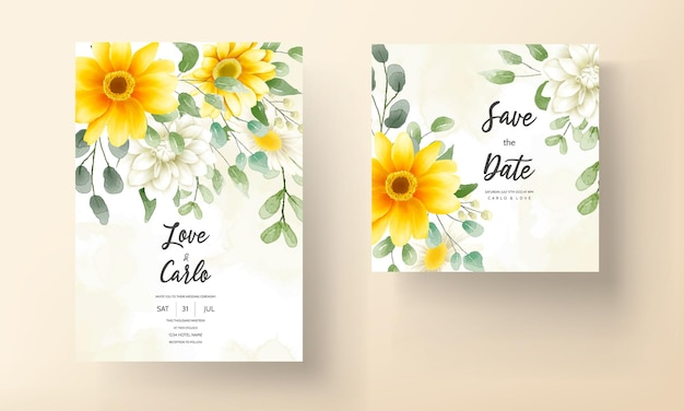 Bruiloft uitnodigingskaart met mooie bloeiende daisy bloem sjabloon
