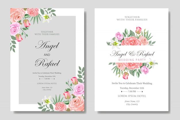 Bruiloft uitnodigingskaart met mooie bloemen en bladeren