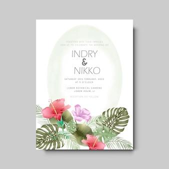 Bruiloft uitnodigingskaart met mooie en artistieke bloemen