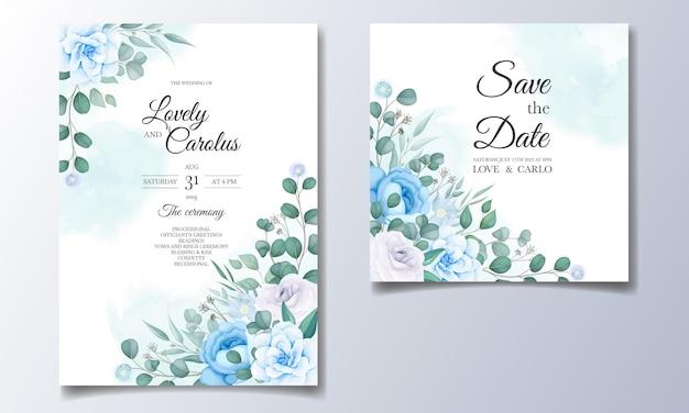 Bruiloft uitnodigingskaart met mooie hand tekenen bloemen