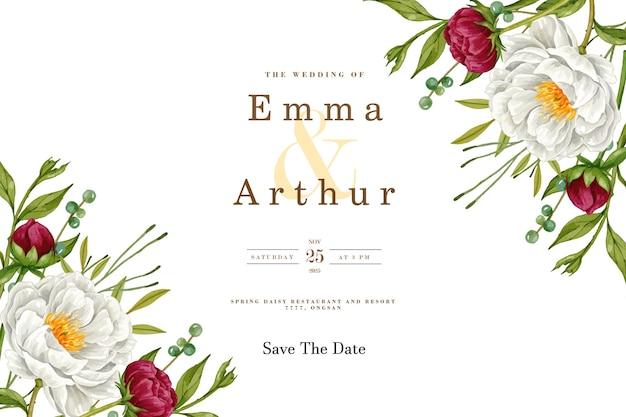 Bruiloft uitnodigingskaart met mooie pioenroos bloem achtergrond