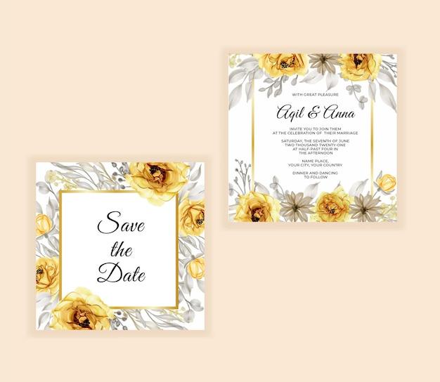 Bruiloft uitnodigingskaart met mooie roze goud geel Premium Vector