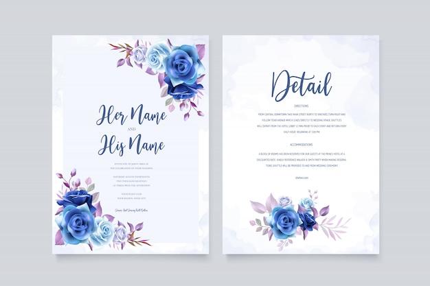 Bruiloft uitnodigingskaart met mooie rozen en bladeren
