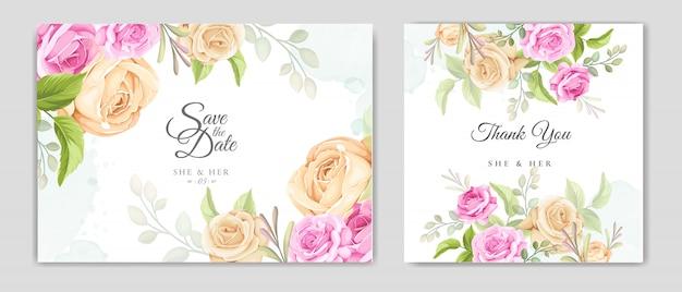 Bruiloft uitnodigingskaart met mooie rozen sjabloon