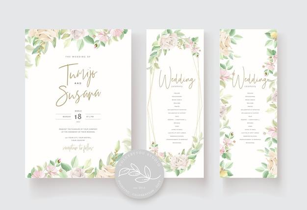 Bruiloft uitnodigingskaart met mooie rozen