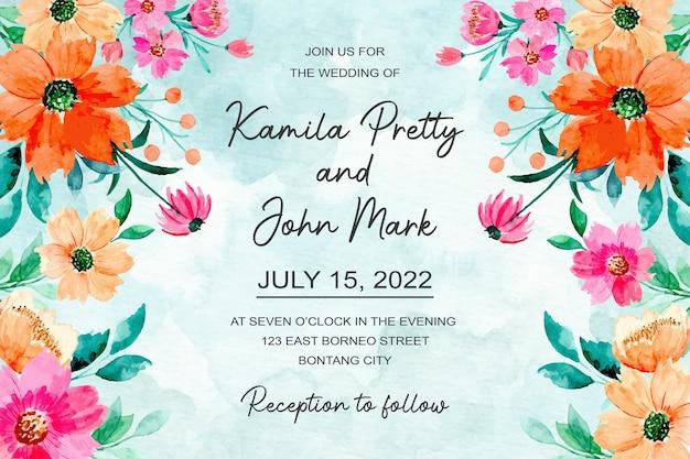 Bruiloft uitnodigingskaart met oranje roze bloemen aquarel abstracte achtergrond