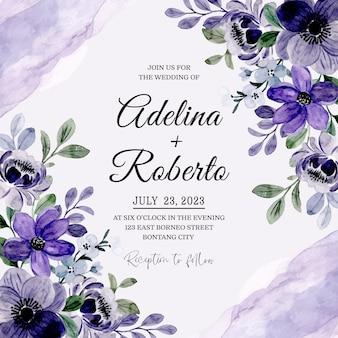 Bruiloft uitnodigingskaart met paarse bloemen aquarel