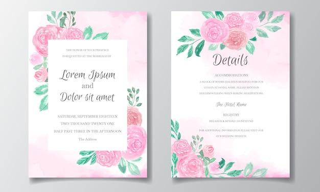 Bruiloft uitnodigingskaart met prachtige bloemen aquarel