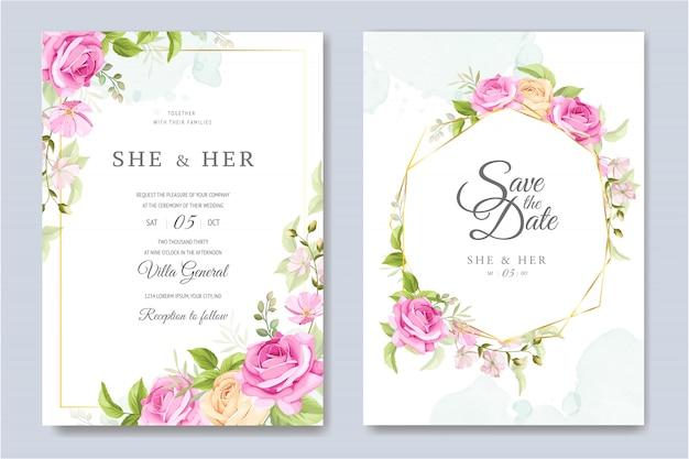 Bruiloft uitnodigingskaart met prachtige bloemen en bladeren sjabloon