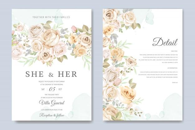 Bruiloft uitnodigingskaart met prachtige bloemen en bladeren