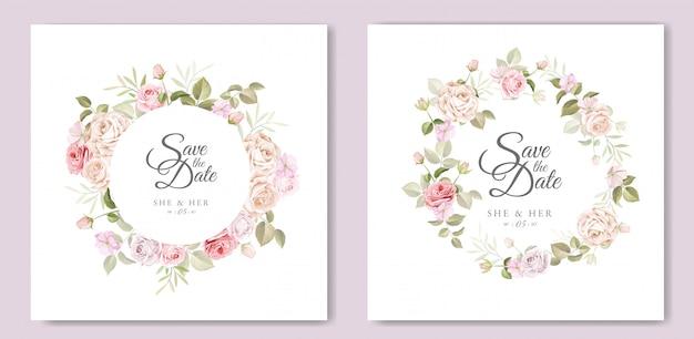Bruiloft uitnodigingskaart met prachtige bloemen sjabloon