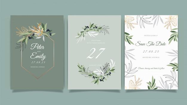 Bruiloft uitnodigingskaart met prachtige bloemen vector collectie