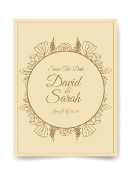 Bruiloft uitnodigingskaart met prachtige bloemen