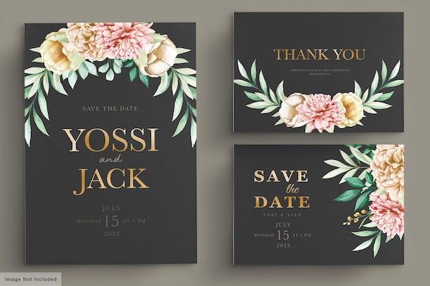 Bruiloft uitnodigingskaart met prachtige bloemen Premium Vector