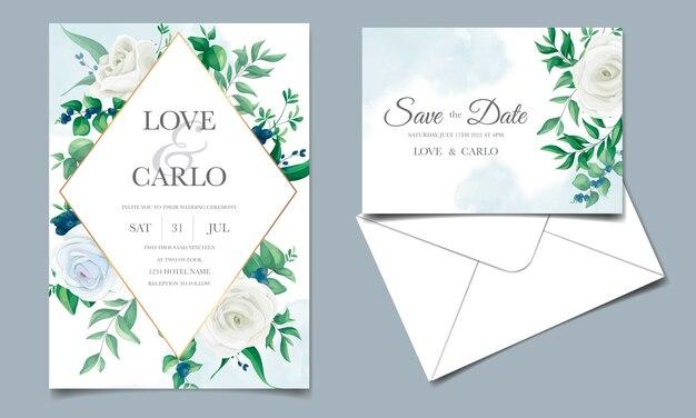 Bruiloft uitnodigingskaart met prachtige rozen, bladeren van het groen en bosbessen