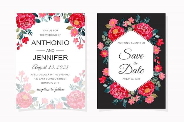 Bruiloft uitnodigingskaart met rode bloem aquarel
