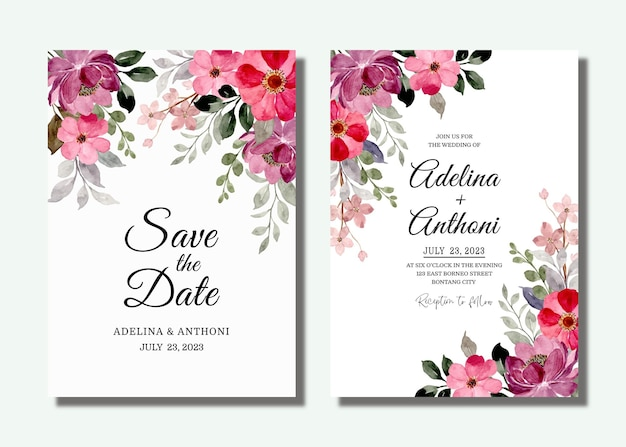 Bruiloft uitnodigingskaart met rode paarse bloemen aquarel