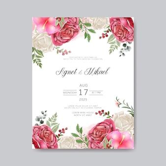 Bruiloft uitnodigingskaart met romantische bloem sjablonen