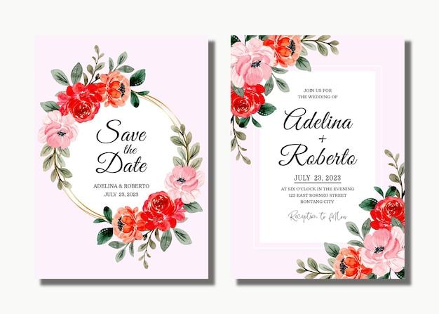 Bruiloft uitnodigingskaart met rood roze bloemen aquarel
