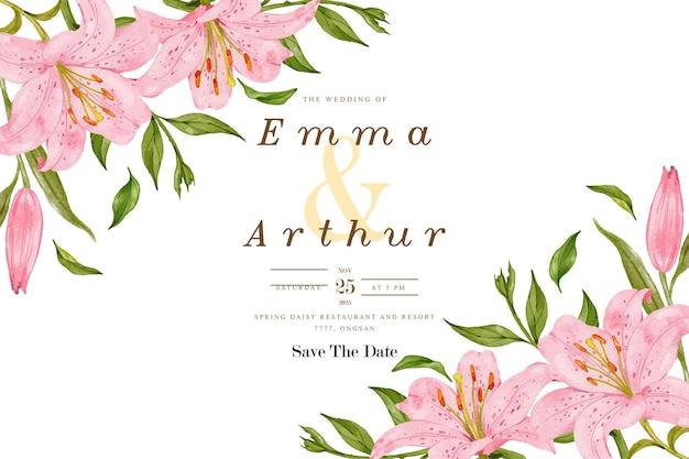 Bruiloft uitnodigingskaart met roze lelie bloem achtergrond