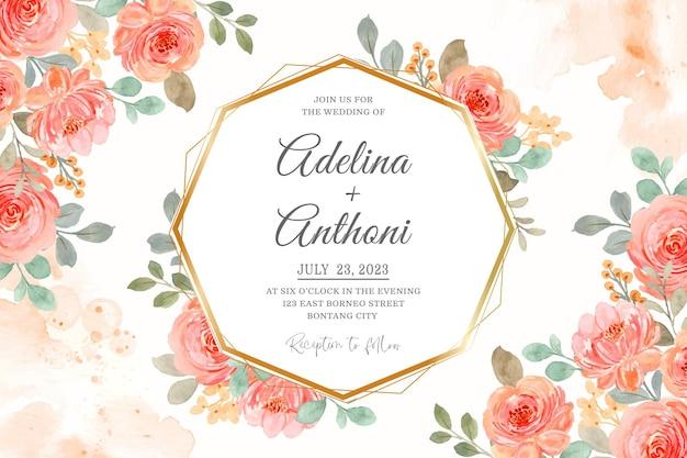 Bruiloft uitnodigingskaart met roze oranje aquarel rozen
