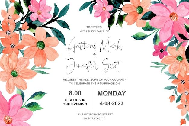 Bruiloft uitnodigingskaart met roze oranje bloem aquarel